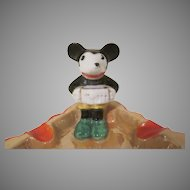 Vintage Mickey Mouse Playing the Accordion Lustre Ash Tray Made in Japan 1930s