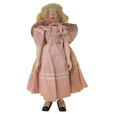 """Wooden Peg 17"""" tall Doll Made in Poland with Ringlets and a Dusty Pink Dress"""