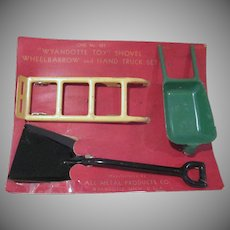 Wyandotte Pressed Steel Wheelbarrow, Shovel, and Hand Truck on Original Card