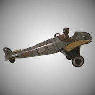 Distler Made in Germany Lithographed Tin Penny Toy Airplane with Pilot