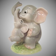 Vintage Made in Japan Mommy Elephant with Baby Ceramic Still Bank