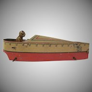 Made in Germany Tin Litho Penny Toy Speed Boat with Driver 1920s