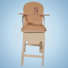 Melon and Cream Tin  Small Baby Doll High Chair with Bear Design