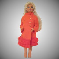 Vintage Barbie Doll Fiery Felt #1789 Coat Only 1970-71