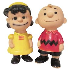 Hungerford Plastics Co. 1958 Charlie Brown and Lucy Squeeze Toys