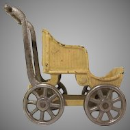"""Larger Kilgore Cast Iron Doll Baby Buggy 4"""" Tall"""