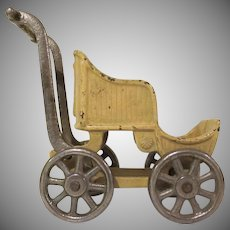 "Larger Kilgore Cast Iron Doll Baby Buggy 4"" Tall"