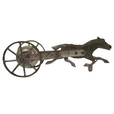 Early Cast Iron and Tin Running Horse Drawn Bell Push and Pull Toy