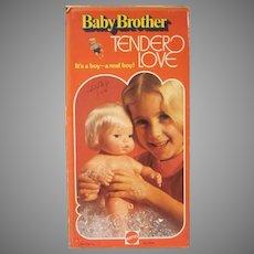 Vintage Mattel Baby Brother Tender Love In Original Box Blonde Doll 1975