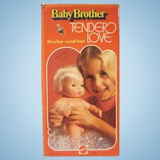 Vintage Mattel Baby Brother Tender Love In Original Box Blonde Doll 1975