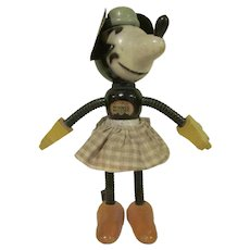 """Vintage 1930s Fun-E-Flex 7"""" tall Minnie Mouse with Fabric Skirt HTF"""