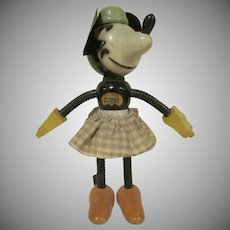 "Vintage 1930s Fun-E-Flex 7"" tall Minnie Mouse with Fabric Skirt HTF"