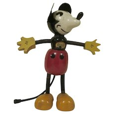 "Vintage 1930s Fun-E-Flex 7"" tall Mickey Mouse HTF"