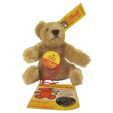 Vintage Steiff Miniature Sitting Honey Brown Teddy Bear with Tags and Button 0201/11 Western Germany