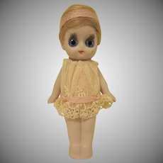 "Made in Germany Googly Big Eyed Bisque Flapper Doll 5"" Tall"