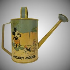 Vintage Ohio Art Tin Litho Mickey Mouse Gardening Watering Can 1930s Walt Disney