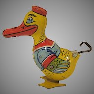 Vintage Tin Lithograph Chein Windup Waddling Duck 1930s Works