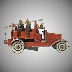 Vintage Made in Germany Tin Lithograph Windup Ladder Fire Truck 1930s Toy
