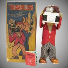 Vintage Alps Made in Japan Windup Monkey Traveller with Box and Book Works