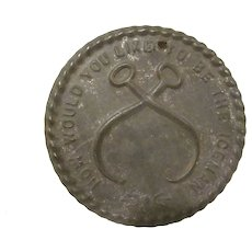 Vintage Pressed Tin How Would You Like to Be The Iceman Disc Miniature Sign Premium
