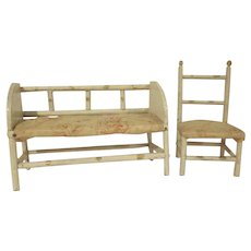 "Early Twig Bench and Chair with Cotton Stuffed Seats 8"" Doll Furniture"