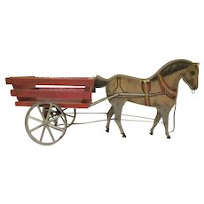 Early Gibbs Paper Litho on Wood Horse Pulls a Wagon Pull Toy c.1910