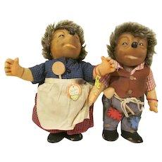 """Vintage Steiff Mecki and Micki 10-1/4"""" Hedgehog Dolls Stuffed Toys"""