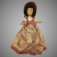 "Vintage Dream World Composition  Formally Dressed 11"" Doll 1940s"