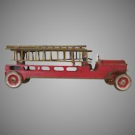 """Early Dayton 18"""" Pressed Steel Friction Fire Ladder Truck c1910"""