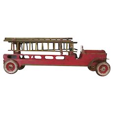 "Early Dayton 18"" Pressed Steel Friction Fire Ladder Truck c1910"