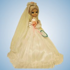 "Vintage Bradley Big Eyed Bride Doll 15"" tall"