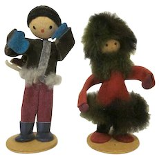 Vintage Pair of Made in Poland Winter Dolls Skating and Heavy Faux Fur Coat Boys