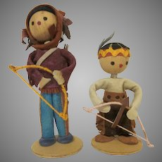 Vintage Pair of Made in Poland Native American Indian Warrior Dolls 1970s