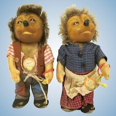 "Vintage Steiff Mecki and Micki 7"" tall 17 cm Hedgehog Plush Toy Dolls Pair"