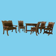 Early Larger Doll Size Suite of 6 Wooden and Velvet Pieces of Furniture for a Library or Parlor