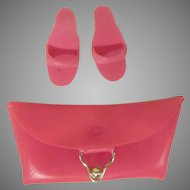 Vintage Barbie Pink Clutch and Pair of Open Toed Shoes 1960s