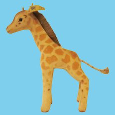 """Vintage Steiff Giraffe Spotted Cotton Velvet Stuffed Toy with Ear Button and Tag 6-1/2"""" tall"""