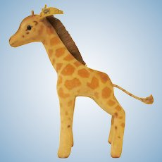 "Vintage Steiff Giraffe Spotted Cotton Velvet Stuffed Toy with Ear Button and Tag 6-1/2"" tall"