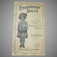 Early Kaufmann and Strauss 1915 Embroidery Paper Dolls with Clothes and Box Sister Helen No. 12