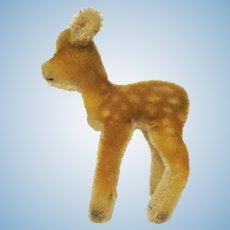 """Vintage Steiff Mohair Wool Jungreh Baby  Deer with Chest Tag 6"""" tall"""