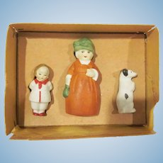 Made in Germany Frozen Bisque Mother, Child, and Dog in Original Box Not Used