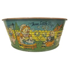 Early Chein Tin Litho Three Little Pigs Wash Tub Toy 1930s