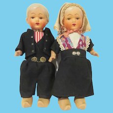 """Vintage Pair of Holland America  Souvenir Dutch Dolls Composition and Wood 10"""" Tall"""