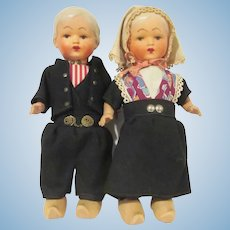 "Vintage Pair of Holland America  Souvenir Dutch Dolls Composition and Wood 10"" Tall"