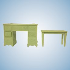 "Renwal 3/4"" No. 85 Vanity and No. 75 Bench in Green Dollhouse Furniture 1950s"
