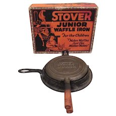 Stover Junior Cast Iron Waffle Iron Toy in Original Box