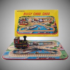 Busy Choo Choo Tin Litho Windup Toy in Original Box Works
