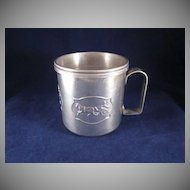 Circus Motif Aluminum Child's Trainer Cup with Lid and Label