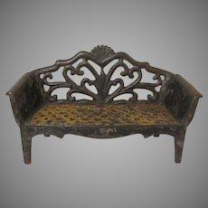 Original Vintage J. E. Stevens Cast Iron Love Seat Dollhouse Furniture