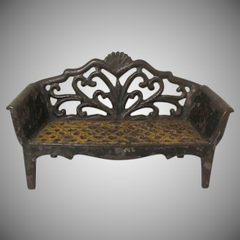 Original Vintage J. E. Stevens Cast Iron Love Seat Dollhouse Furniture